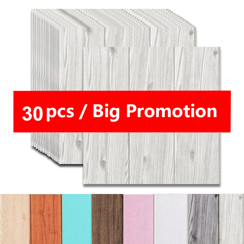 3D Self-Adhesive 35X35cm Wood Sticker DIY Waterproof Foam Wallpaper For Kids Room Kitchen Roof Ceiling Background Wall Decals