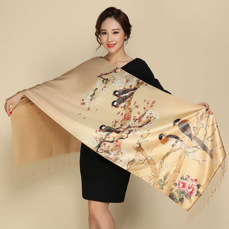 Two Sides Wear Pastoral Style PashminaWomen Scarves Silk Cashmere Scarf Retro National Tippet Warm Print Shawl Scarf
