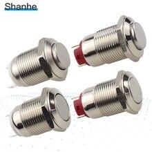 12 мм фиксированный или мгновенный водонепроницаемый плоский круглый металлический кнопочный переключатель из нержавеющей стали 2pin