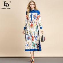 LD LINDA DELLA Fashion Designer estivo elegante abito da donna Vintage con colletto rovesciato a vita alta con stampa floreale