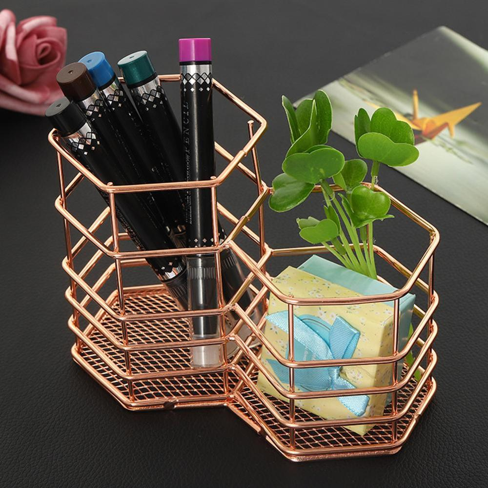 2019 New Rose Gold Hollow Pen Pencil Pot Holder Makeup Brushes Storage Desk Organiser Container Organizer Desk Stationery Decor