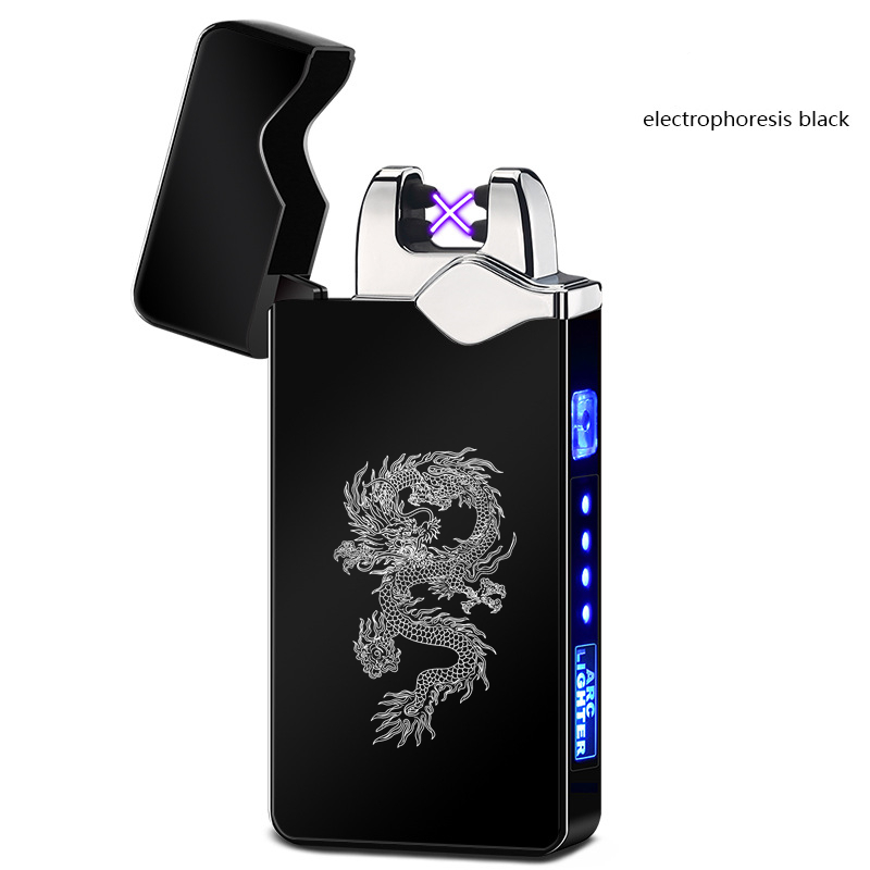 Rechargeable Dual Arc USB Lighter Metal Electronic Cigarette Lighter Windproof Smoke Flameless Plasma Electric Lighter