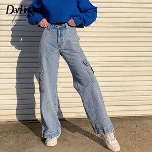Image 1 - Darlingagaแฟชั่นตรงDenimสูงเอวกระเป๋ากางเกงหลวมผู้หญิงกางเกงCargoกางเกงยีนส์สตรีด้านล่างPantalon