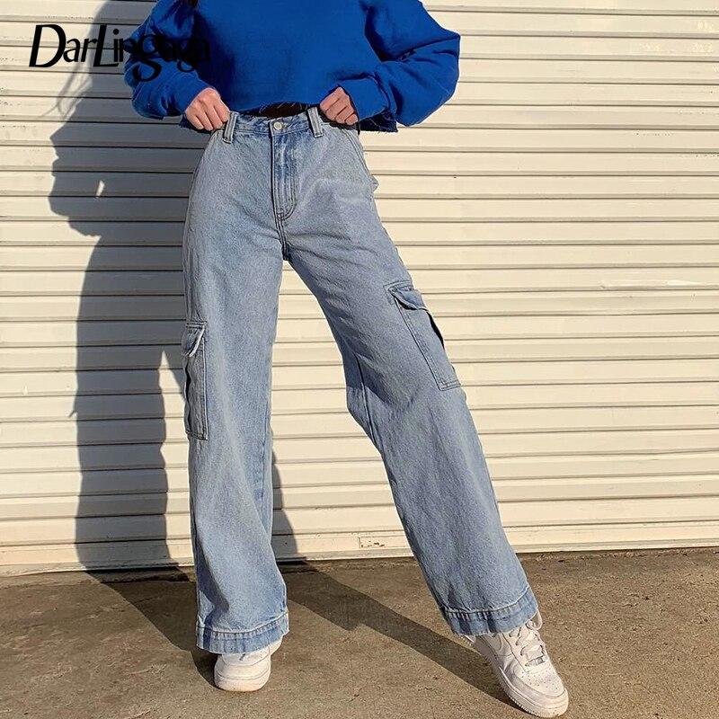 Darlingaga Fashion Saraight Denim High Waist Pants Pockets Loose Women's Trousers Cargo Pants Women Casual Jeans Bottom Pantalon
