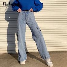Darlingaga moda em linha reta denim calças de cintura alta bolsos solto calças de carga das mulheres calças de brim casuais