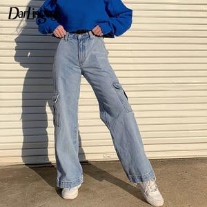 Image 1 - Darlingagaファッションストレートデニムハイウエストパンツポケットルーズ女性のズボン貨物女性のカジュアルなジーンズ底パンタロン