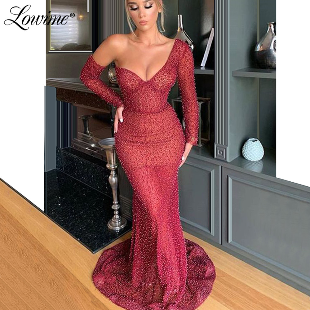 Hot Sexy One Shoulder African Prom Dresses Mermaid Beads Arabic Party Gowns 2020 Customize Evening Dress Abendkleider