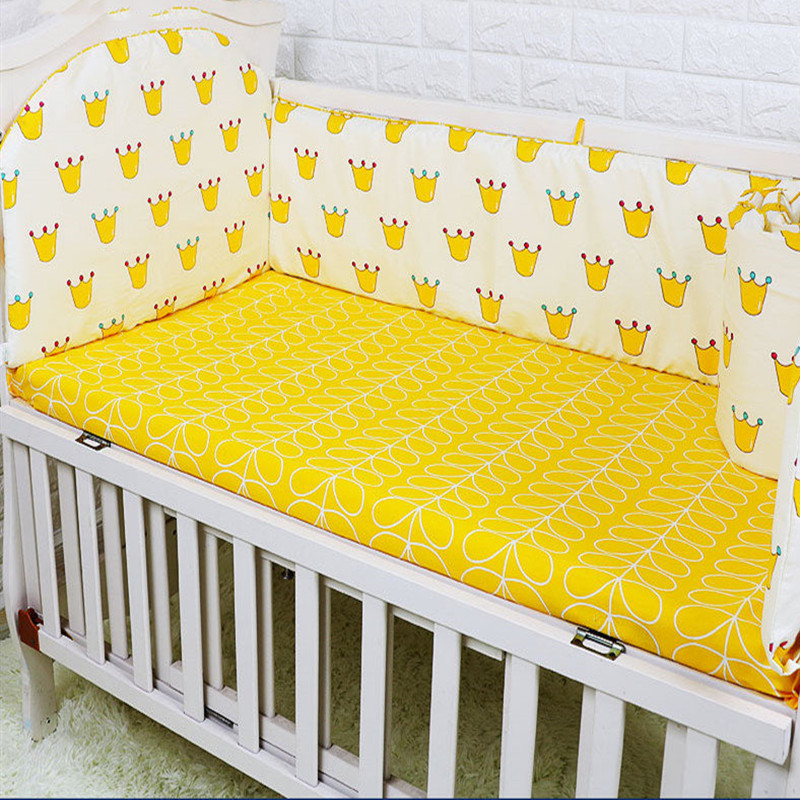 New Arrival Cotton Baby Crib Bedding Set, Newborn Baby Cot Set For Boys and Girls, Baby Crib Bed 4pcs Bumpers+1pcs Bed sheet
