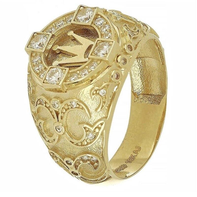 Golden Carved Crown Rings for Men Jewelry Wedding Promise Ring Ladies Full Crystal Ring Female Women Vintage Couple Rings Femme