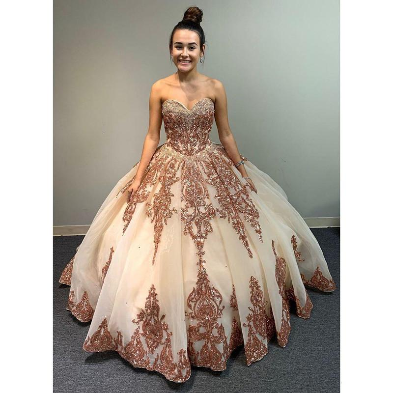 Luxurious Rose Gold Lace Beaded Quinceanera Prom Dresses Ball Gown Sweetheart Sparkly Tulle Evening Party Sweet 16 Dress Vestido Quinceanera Dresses Aliexpress