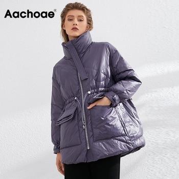 Aachoae Pure Winter Lightweight Down Jacket Women Thick Warm Batwing Long Sleeve Loose Doudoune Pocket Ultra Light Duck Down 1