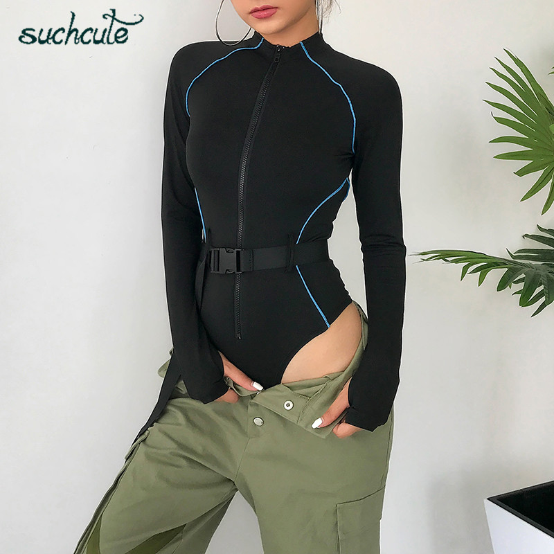 SUCHCUTE Belt Body Overalls For Women Bodysuit With Zipper Autumn 2019 Skinny Female Playsuit Macacao Feminino   Jumpsuits   Rompers