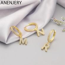 ANENJERY – boucles d'oreilles en argent Sterling 925, 1 paire de 26 lettres de l'alphabet, en Zircon, bijoux de nom pour femmes et hommes, S-E1169
