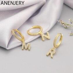 ANENJERY 925 Sterling Silver 1 Pair 26 Alphabet Letter Hoop Earrings Initial Zircon Earrings For Women Men Name Jewelry S-E1169
