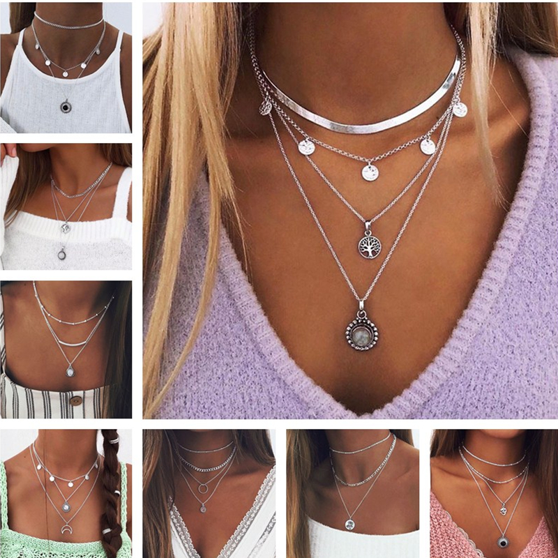 1pcs Bohemian Multilayer Jewelry Cartoon Bear Chain Necklaces Moon Stars Hearts Pendants Necklaces for Women Vintage Trinkets