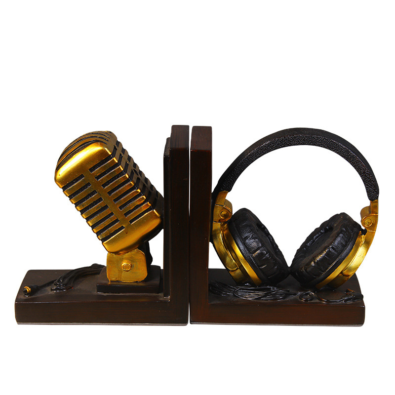 HOME DECORATION MINIATURE MODEL MICROPHONE HEADSET MUSIC LOVER ORNAMENTS RETRO RESIN BOOKEND FIGURINES DESK DECOR ACCESSORIES