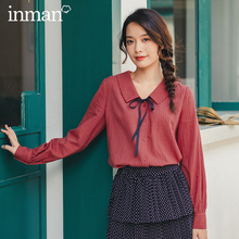 INMAN 2020 Autumn New Arrival Literary Style Cotton  Bow Tie Turn Down Collar Single Buttons Women Elegant Blouse
