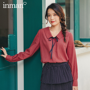 Image 1 - INMAN 2020 Autumn New Arrival Literary Style Cotton  Bow Tie Turn Down Collar Single Buttons Women Elegant Blouse
