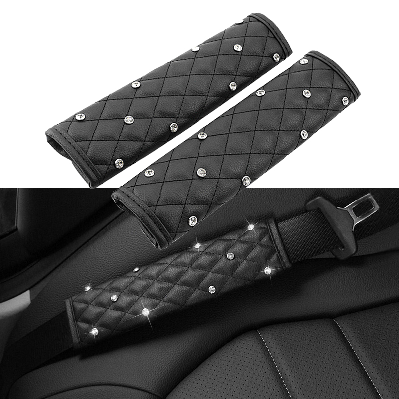 2 Pieces Crystal Diamond Leather Car Seat Belt Cover Leather Seat Belt Shoulder Pad Styling Car Interior Accessories