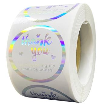 100-500pcs Rainbow Laser dziękuję naklejki małe firmy naklejki etykiety samoprzylepne do butików biznesowych akcesoria do pakowania tanie i dobre opinie CN (pochodzenie) QY1035 6 lat 3 lata 8 lat Round Papier 25mm Envelope Seals bakery Crafts Wedding blue black white pink
