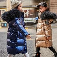 2020 moda marka dziewczyna dół kurtki ciepłe dziecko dzieci długa parka płaszcz futro Kid nastolatek pogrubienie odzieży dla mroźna zima