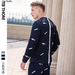 Mode marke männer oansatz muster sweatshirts mit shark stickerei zipper auf zurück baumwolle pollovers sweatshirts männer
