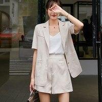 Cotton Linen Summer Suit Casual Female 2 Pieces Set Tracksuit For Women Loose Blazer And Short Pant Suits High Quality