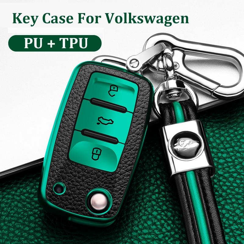 Car Key Cover Remote Fob Holder Cover Shell For VW Volkswagen Jetta Golf 4 5 6 Polo Bora Passat B5 B6 Bag