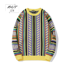 RLJT.JIN Winter warm Geometric symmetry of the pattern of round collar long sleeve cotton pullover Recreational sweater