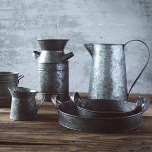 Image 2 - Bandeja de hierro Vintage Retro contenedor lata plato decoraciones para florero estilo Rural naturaleza muerta, accesorios de fotografía de alimentos