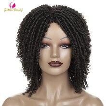 قصيرة الكروشيه الضفائر الباروكات للنساء السود الاصطناعية DreadLock الشعر شعر مستعار أومبير تويست شعر كثيف مجعد مستعار الأفريقي الذهبي الجمال
