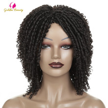 Short Crochet Braids Wigs For Black Women Synthetic DreadLock Hair Wig Ombre Twist Afro Wig African Golden Beauty