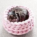 Лежак для домашних животных, модная плетеная корзина из шерсти и хлопка, мягкий лежак для отдыха и сна, для собак