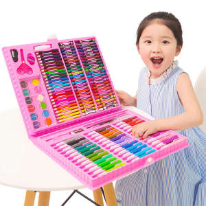 Colored Pencils Pens Pastel-Set Stationery Watercolor-Brush Crayons Drawing-Set Children