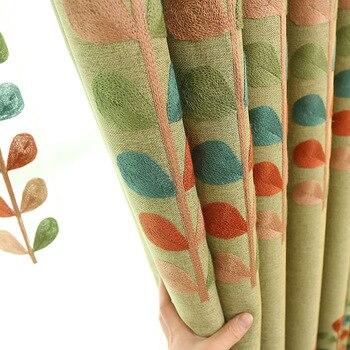Cortinas para sala de estar y dormitorio estilo Country americano con acabado de sombreado cortinas de lino y algodón bordadas