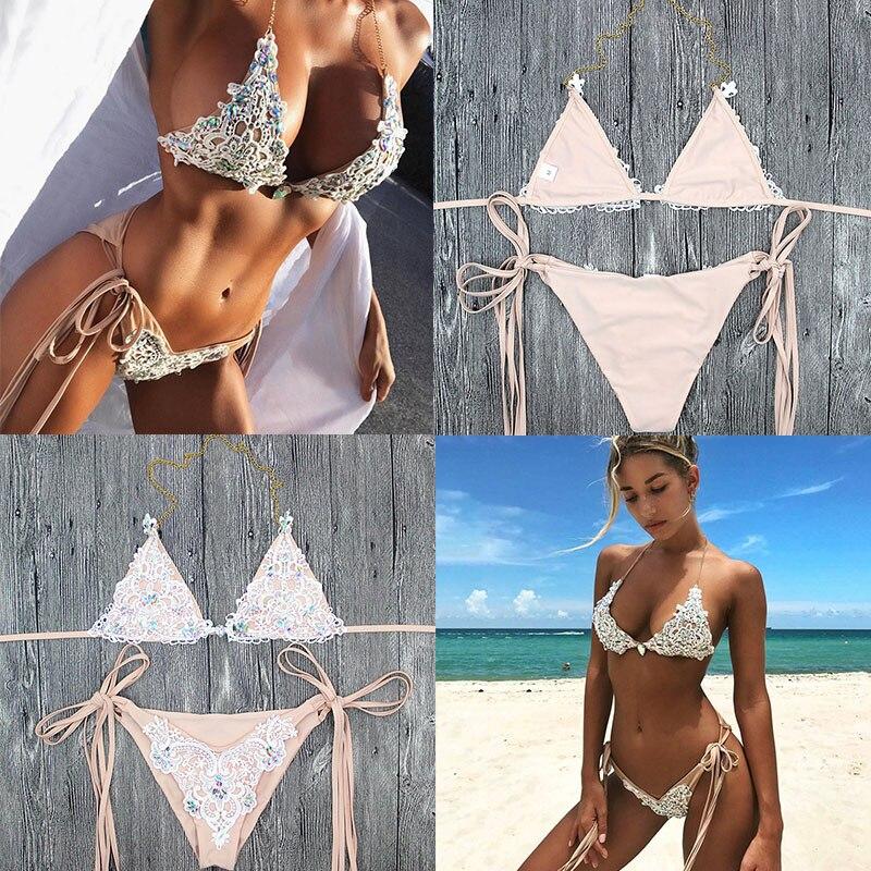 2 pçs sexy lantejoulas rendas biquini dividir sexy com alças de biquíni nu strass beachwear push up bikini com almofada no peito 5