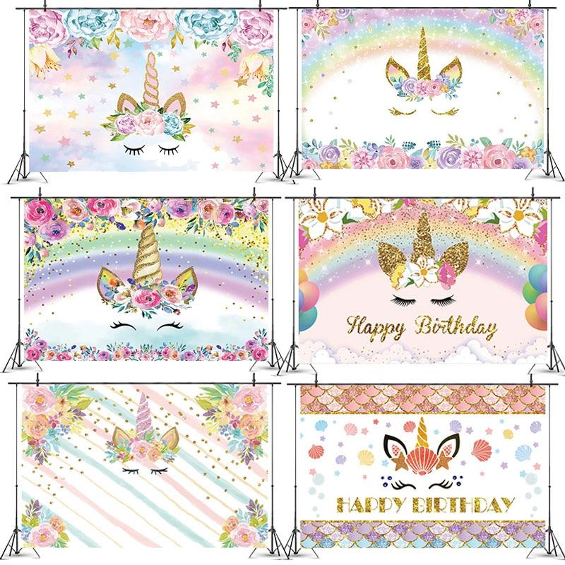 Единорог волшебное украшение на день рождения, фон для вечеринки, украшение на день рождения для детей, товары для душа
