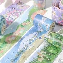 Cinta adhesiva decorativa con estampado de flores y bosque, Serie de sueños, pegatina para álbum de recortes, artículos de papelería con etiquetas