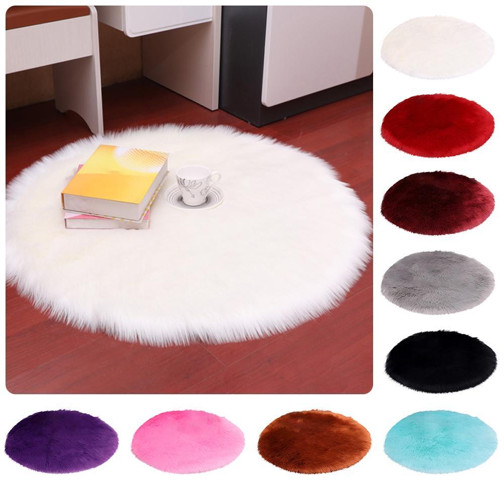 30/35/40/45cm Round Plain Fluffy Rug Pad Carpet Bedroom Mat Cover Home Decor