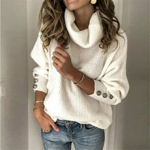 Plus Size Winter Vrouwen Elegante Warme Truien Kasjmier Coltrui Chunky Breien Truien Pure Kleur Warme Trui Jumper(China)