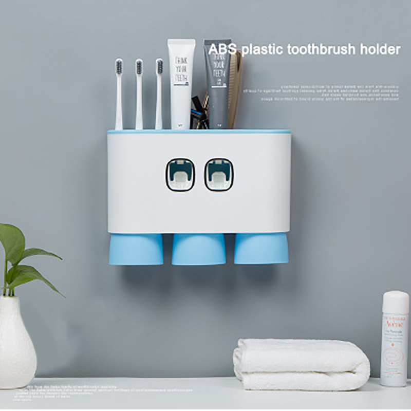 EHEH Automatic Toothpaste Dispenser Toothbrush Holder with Cups Wall Mount Stand Bathroom Toothpaste Squeezer Set