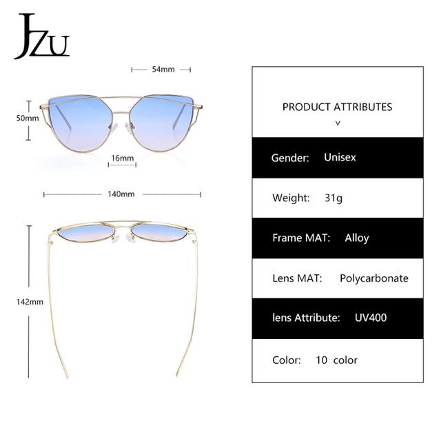 JZU Cat eye Brand Sunglasses Women Designer Mirror Flat Rose Gold Vintage Metal Reflective sunglasses women female Oculos Gafas 10