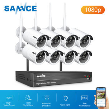 SANNCE 8CH CCTV bezprzewodowe System NVR 1080P NVR Wifi IR-CUT na świeżym powietrzu 1080P AI CCTV IP kamery systemu bezpieczeństwa wideo zestaw do nadzorowania