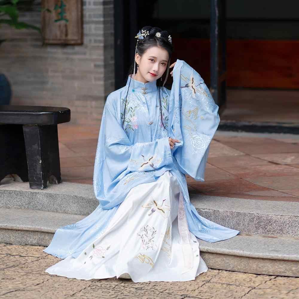 Mới Hanfu Đầm Nữ Trung Hoa Dài Áo Dây Nhà Minh Cổ Quần Áo Truyền Thống Sang Trọng Khiêu Vũ Cổ Điển Trang Phục Sân Khấu DQL2615