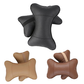 2 PCS artificial leather car pillow protection your neck/car headrest hole-digging design/auto supplies safety neck pillow image
