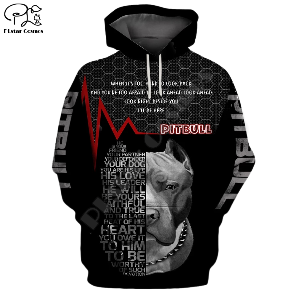 New Mens clothing Funny pitbull Dogs 3d print hoodies autumn long sleeve Sweatshirts women pullover tracksuit hood hoody outwear