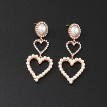 цена на 2019 New Charm Earrings For Women Trendy Personality Hollow Heart Shape Shining Decoration Drop Earrings Female