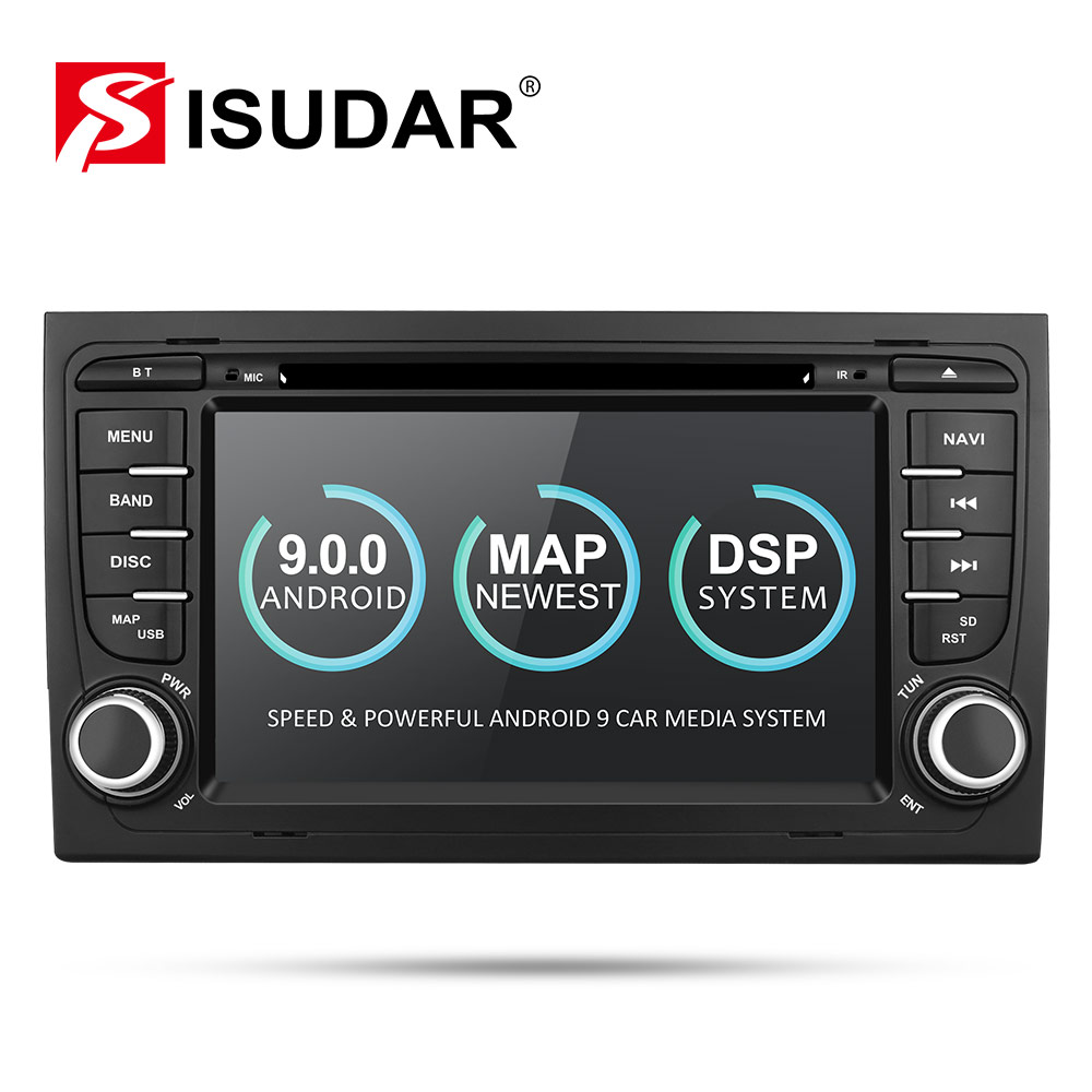 Isudar 9 2 Din Car Multimedia Player GPS Android DVD Automotivo Para Audi/A4/S4 2002-2008 16 2 rádio Quad Core RAM GB ROM GB DSP