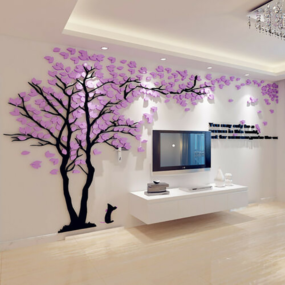 Creative Love Tree 3d Wall Stickers Living Room Sofa TV Background Self-adhesive Film Left And Righ Home Decoration