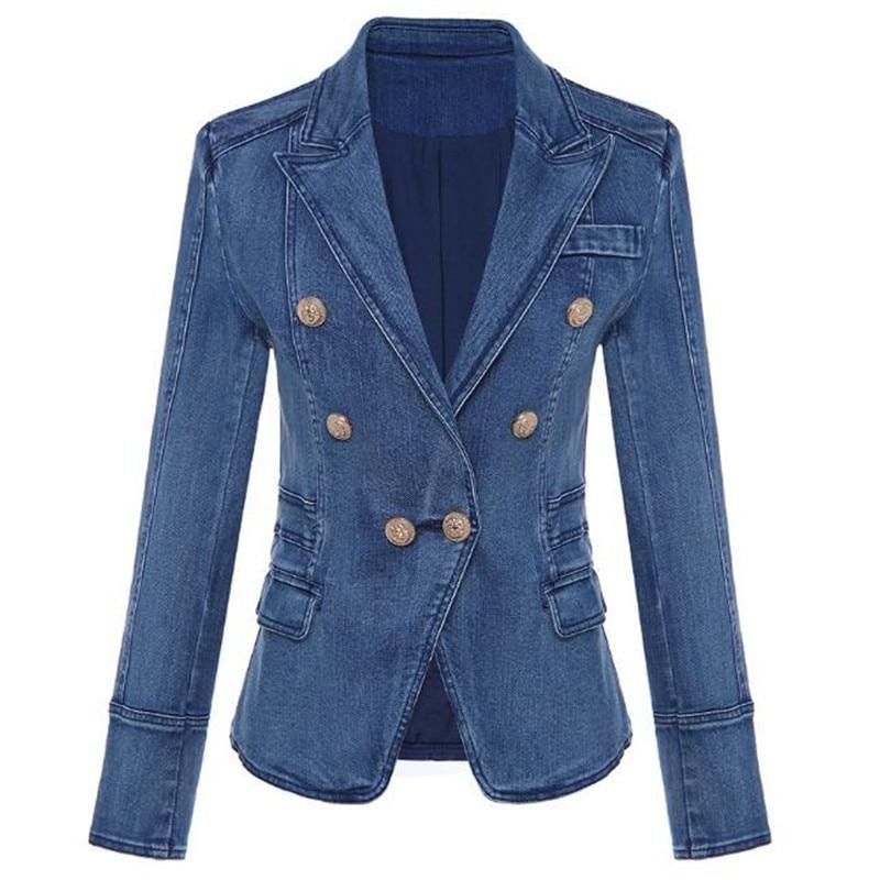 High Quality Denim Blazer Fashion Casual 2019 New Designer Women Double Lion Button Long Sleeve Jeans Jacket Outwear Coat Tops